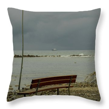 A Bench On Which To Expect, By The Sea Throw Pillow