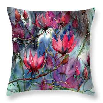 A Blooming Magnolia Throw Pillow