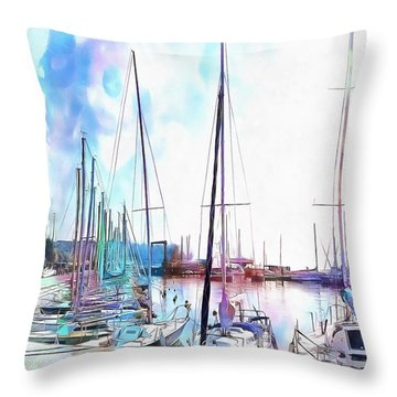 Throw Pillow featuring the photograph A Color Wash Of Boats by Dorothy Berry-Lound