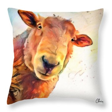 A Curious Sheep Called Shawn Throw Pillow