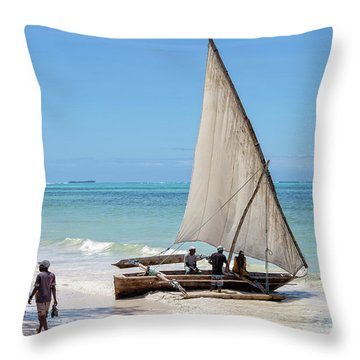 A Dhow In Zanzibar Throw Pillow