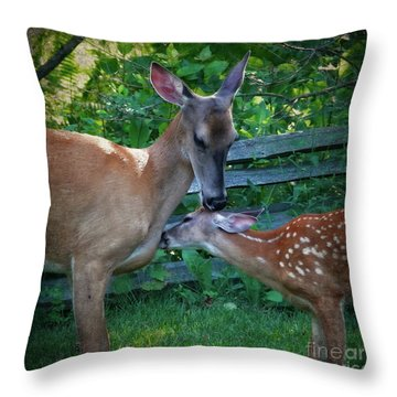 A Doe And Her Fawn Throw Pillow