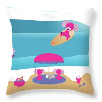 A Dog Family Surf Day Out Throw Pillow