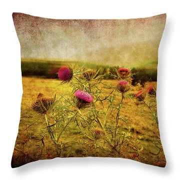 Throw Pillow featuring the photograph A Field Covered With Mist by Milena Ilieva