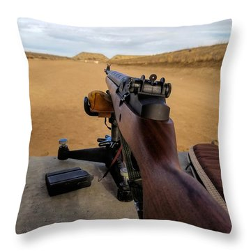 Throw Pillow featuring the photograph A Fine Day At The Range by Jon Burch Photography