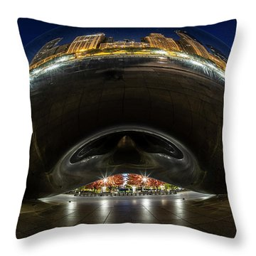 A Fisheye Perspective Of Chicago's Bean Throw Pillow