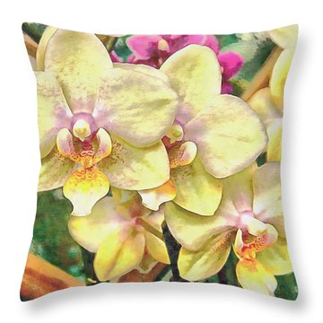 A Flash Of Orchids Throw Pillow
