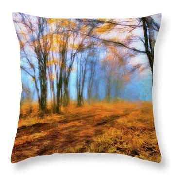 A Foggy Autumn Blue Ridge Morning Ap Throw Pillow