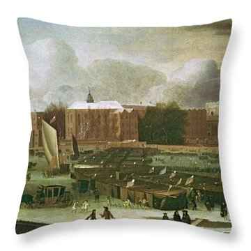'a Frost Fair On The Thames At Temple Stairs', 1684, Oil On Canvas. A. Hondius . Throw Pillow