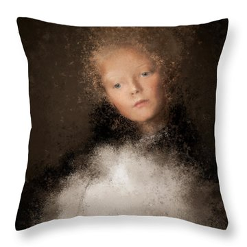 A Girl With The Hand Fan Throw Pillow