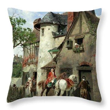 A Halt At A Country Inn Throw Pillow