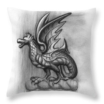 Throw Pillow featuring the drawing A Highclere Wyvern by Joe Winkler