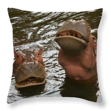 A Hippopotamus Pair In The Water Throw Pillow