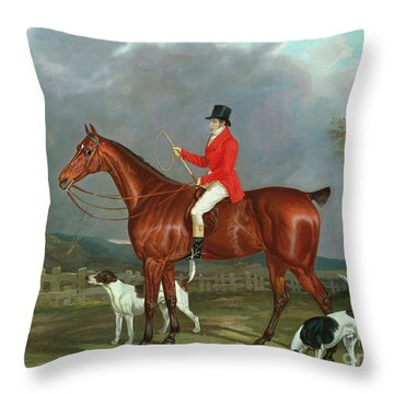 A Huntsman And Hounds, 1824  Throw Pillow