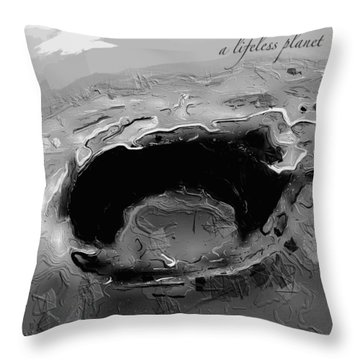 Throw Pillow featuring the digital art A Lifeless Planet Black by ISAW Company
