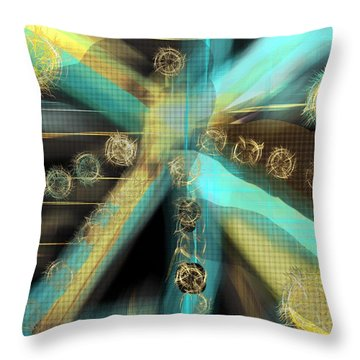 A Light Beams In Gold Brown And Blue Throw Pillow