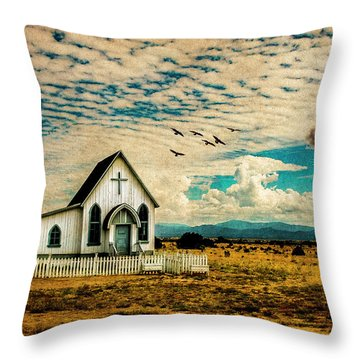 A Lone Prairie Church Throw Pillow