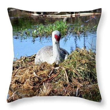 A New Crane Nest Throw Pillow