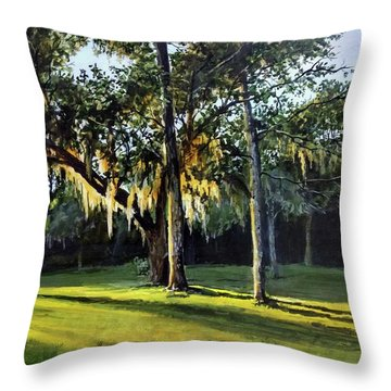 Throw Pillow featuring the painting A New Sunset by William Brody