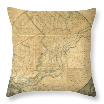 A Plan Of The City Of Philadelphia And Environs, 1808-1811 Throw Pillow