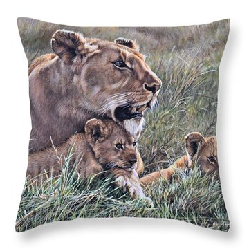 Throw Pillow featuring the painting A Quiet Moment Lioness And Lion Cubs by Alan M Hunt