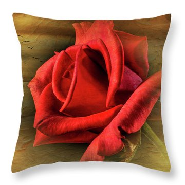 A Red Rose On Gold Throw Pillow