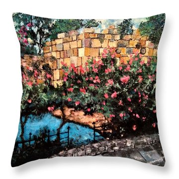 Throw Pillow featuring the painting A Roman Wall by Ray Khalife