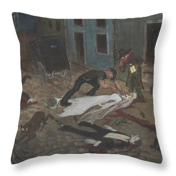 Throw Pillow featuring the drawing A Scary Nighttime Scene by Ivar Arosenius