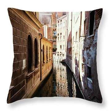 A Shadow In The Venetian Noon Narrow Canal Throw Pillow