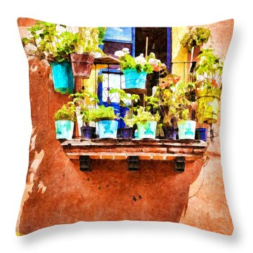 Throw Pillow featuring the photograph A Small Suspended Garden In Mexico - Digital Paint by Tatiana Travelways