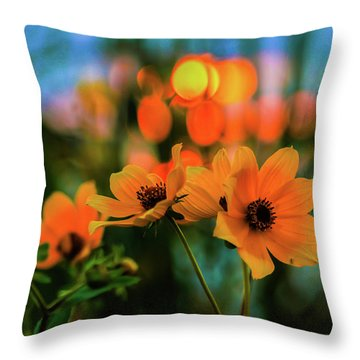 Sunflower Bokeh Sunset Throw Pillow