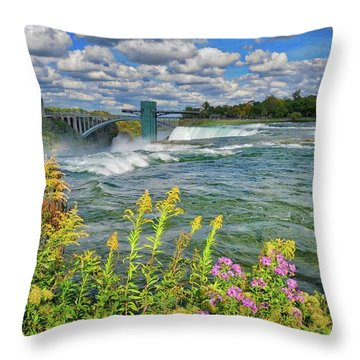 Throw Pillow featuring the photograph A Touch Of Summer In Fall At Niagara Falls, New York by Lynn Bauer