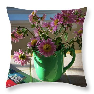 Throw Pillow featuring the photograph A Traveler Still Life With Autumn Flowers by Tatiana Travelways
