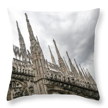 A Veritable Forest Of Svelte Graceful Spires - Milans Cathedral Duomo Di Milano Throw Pillow