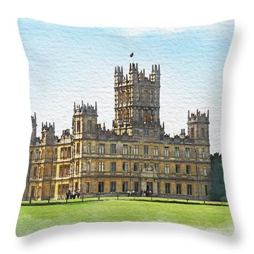 Throw Pillow featuring the digital art A View Of Highclere Castle 1 by Joe Winkler