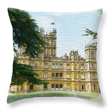 Throw Pillow featuring the digital art A View Of Highclere Castle 2 by Joe Winkler