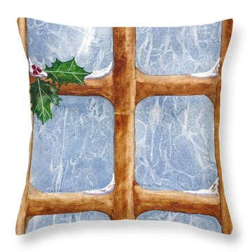 A Visit From Jack Frost Throw Pillow