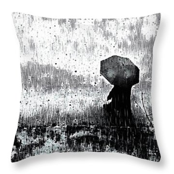 Throw Pillow featuring the mixed media A Walk In The Rain by Susan Maxwell Schmidt