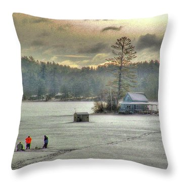 A Warm Glow On A Cool Scene Throw Pillow
