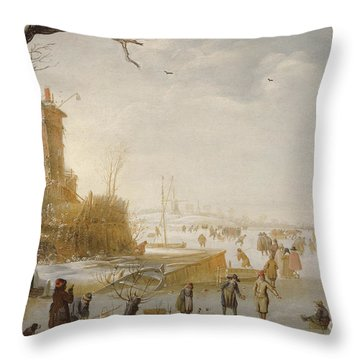 A Winter Scene With Figures On The Ice Throw Pillow