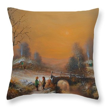 A Winters Tale Snow Arrives In The Shire Throw Pillow