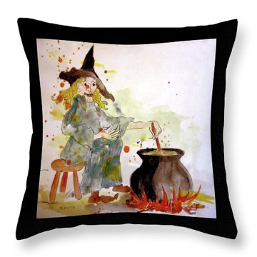 Throw Pillow featuring the painting A Witch Called Zee by Valerie Anne Kelly