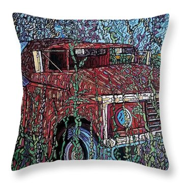 Abandoned Oil Truck  Throw Pillow