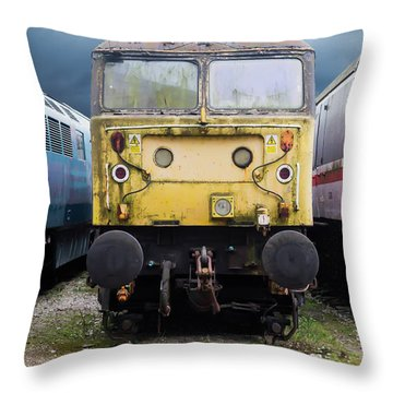 Abandoned Yellow Train Throw Pillow