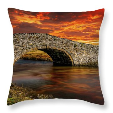 Aberffraw Bridge Sunset Throw Pillow