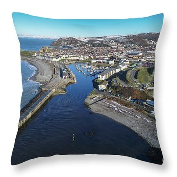 Aberystwyth Harbour From The Air In Winter Throw Pillow