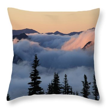 Above The Clouds Sunrise Throw Pillow
