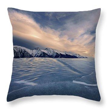 Abraham Lake Ice Wall Throw Pillow