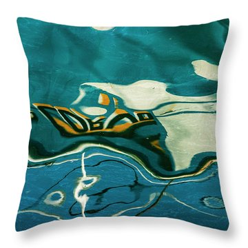 Throw Pillow featuring the photograph Abstract Boat Reflection V Color by David Gordon
