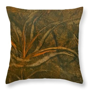 Abstract Brown/orange Floral In Encaustic Throw Pillow